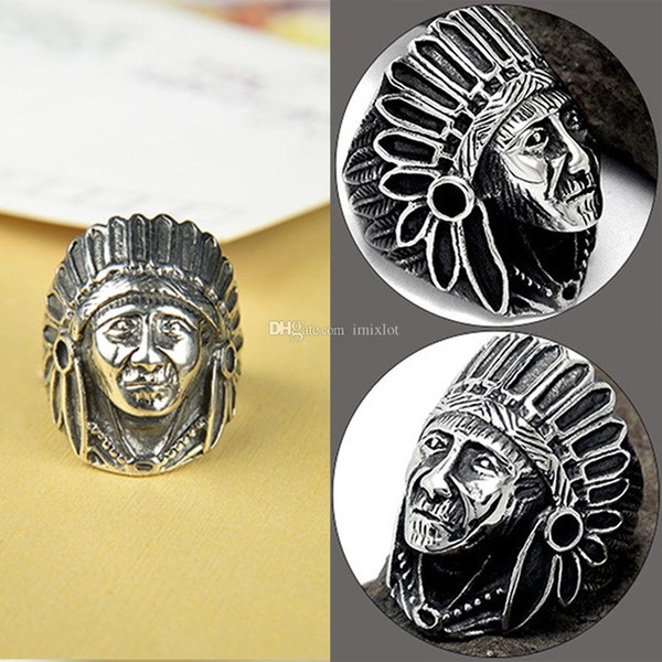 6 Pcs Soldier Exaggerated Punk Style Indian Chief Index Finger Rings Fashion Bike Jewelry Zinc Alloy Vintage Men Ring
