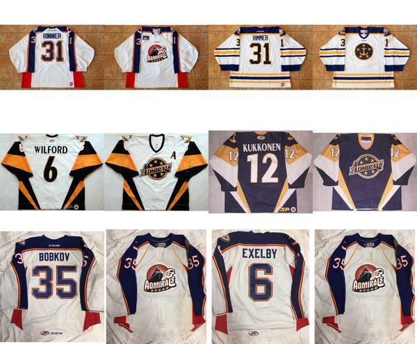 Mens Womens Kids 2017 Anpassen ECHL Norfolk Admirals 6 Marty Wilford 12 Lasse Kukkonen 6 Exelby Genähte Hockey-Trikots Goalit Cut
