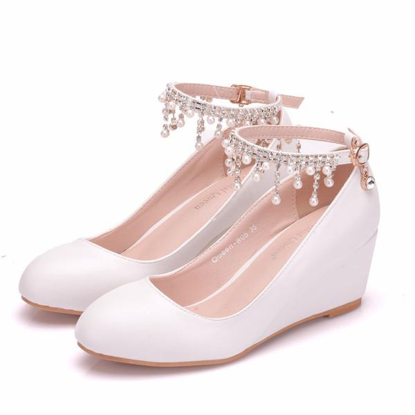Crystal Queen High Heel Ankle Strap Platform Wedge shoes Women Pump Wedge 5CM Heels Platform Sapato Feminino Shoes Dress Shoes
