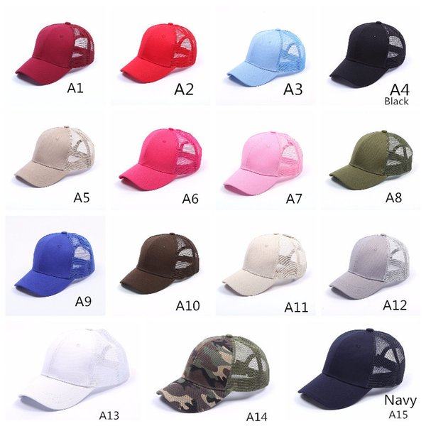 C&C Baseball Cap Women Adjustable Ponytail Caps Messy Bun Baseball hat Girls Snapback Caps Summer Sports Mesh Hats 29 colors