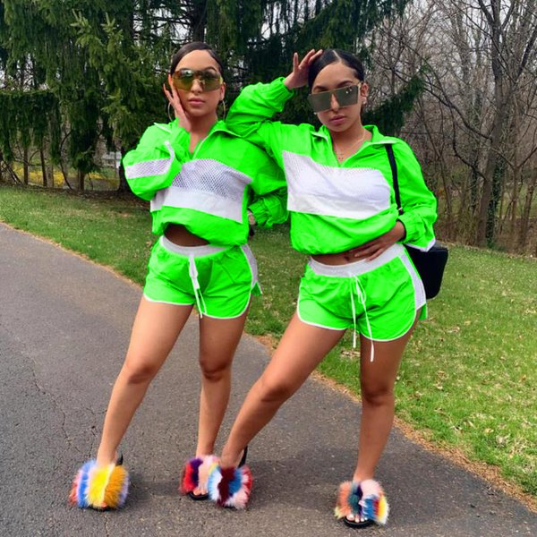 Women Patchwork Sheer Mesh Tracksuit Jacket + Drawstring Shorts Outfit Jumpsuits Summer 2 Piece Wind Breaker Sportswear Jogger Suit C41503
