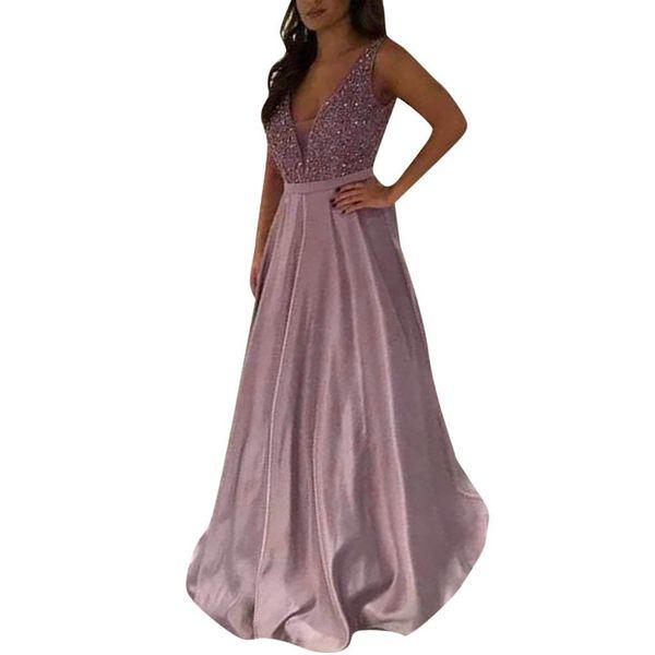 summer dress vestidos Women Sequin Prom Party Ball Gown Sexy Evening V Neck Long Dress valentine dresses for women