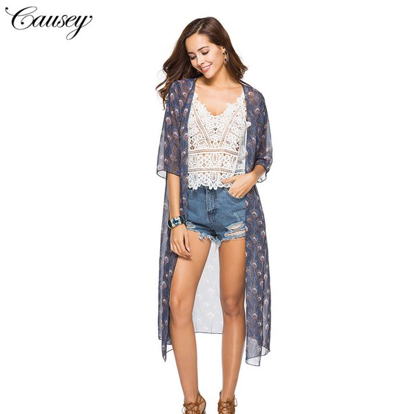 Chiffon Cardigan Outside The Ride In Sleeve Shawl Jacket Loose Coat Sandy Beach Suit-dress A Housing Unlined Upper Garment
