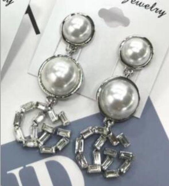 Big animal head lion head letter earrings color diamond pearl tassel earrings hipster1