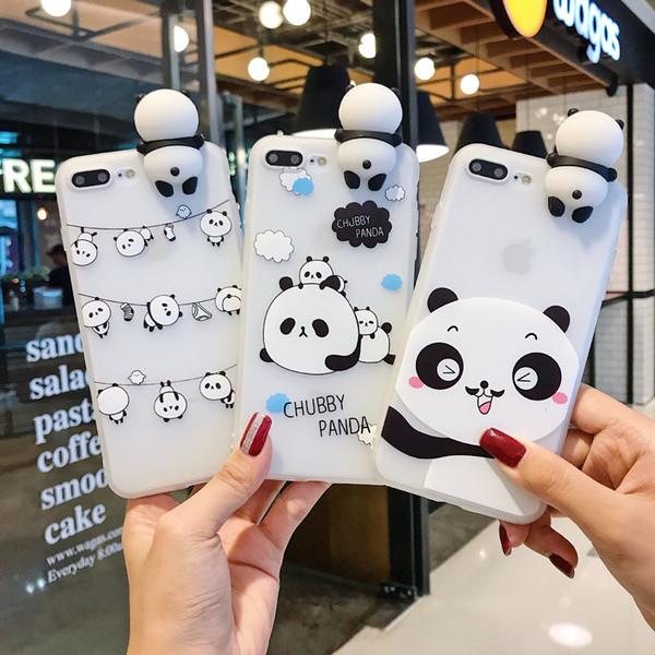 3D смазливая Stand Китай Panda чехол для iPhone 11 про макс 6 6s 7 Plus Назад телефон Обложка мультфильм Скраб для iPhone 8 Plus крышки