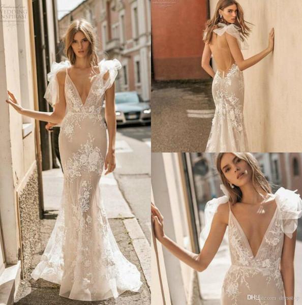 Berta Privée 2019 Vestidos de Casamento V Neck Lace Sexy Nupcial Vestidos Com Apliques Até O Chão Backless Praia Boho Vestido De Casamento Personalizado