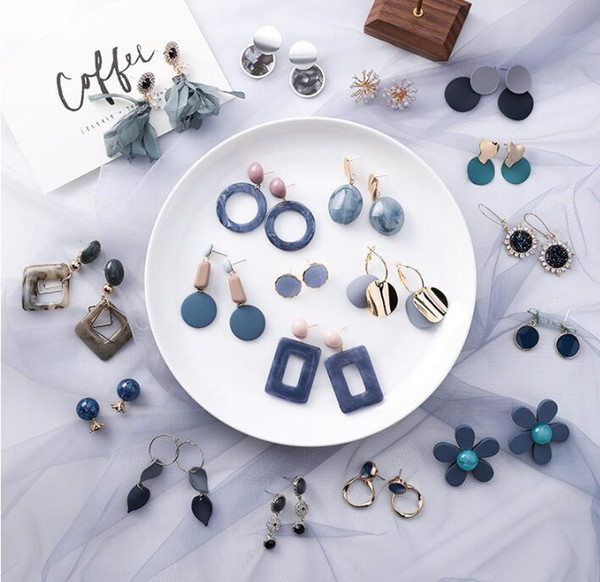 Fashion Designer Earrings for Women Jewelry Geometric Circle Square Long Drop Earrings Hot Sale Flower Ear Stud for Party