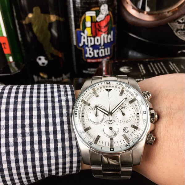 CHINA GIFT QUARTZ DATE SILVER 42MM Chronograph all functions work fashion Stainless steel brand new men watch wristwatch Mens watches