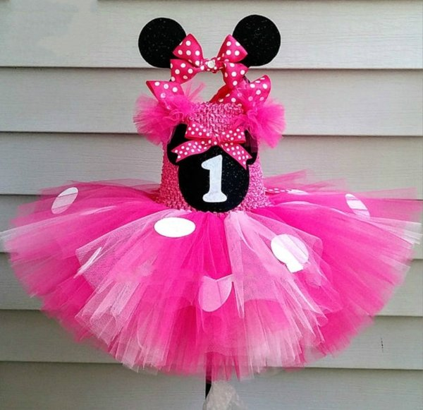 Cute Girls Pink Mickey Tutu Dress Baby Crochet Tulle Dress With White Dots And Hairbow Kids Birthday Party Cartoon Cosplay Dress Q190522