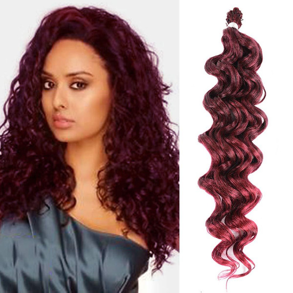 """Hot! 6pcs Full Head 20"""" Deep wave Twist Low Temperature Fiber Synthetic Crochet Ombre Braids Hair Synthetic Braiding Hair Extensions"""