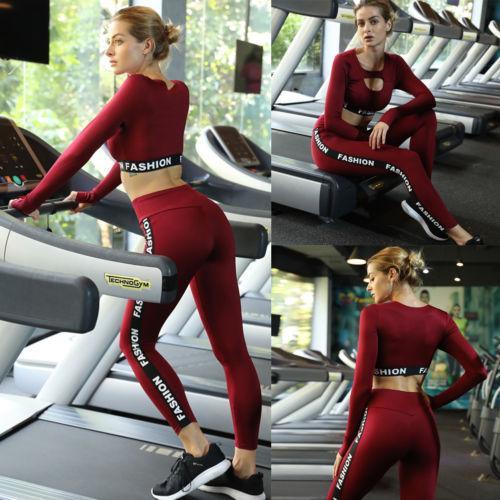 Mulheres senhoras manga longa execução conjuntos de yoga treino ginásio esporte tops + conjuntos de calças sportswear roupa de fitness