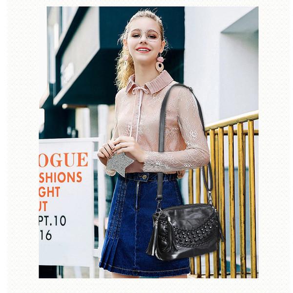 Black Genuine Leather Bag Woman 2019 New Sheepskin Casual Tote Soft Female Messenger Handbag Rivet Shoulder Bag Sac Main Femme