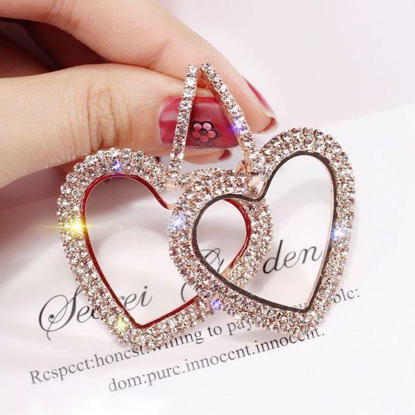 s925 orecchini in argento pieno di strass delicato cuore amorevole lungo orecchio goccia euramerican esagera orecchini lucidi gioielli moda donna