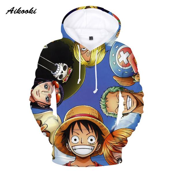 Aikooki 3D One Piece Hoodies Men Sweatshirt Hoodies 3D Printing Blue Design Autumn Winter Polluver Women Hoody Cap Clothing