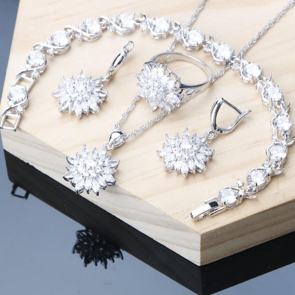 Conjuntos de Jóias linda Prata 925 Jóias Branco CZ Brincos Pulseira Anel Colar Set Sorte cor de Câncer Frete grátis