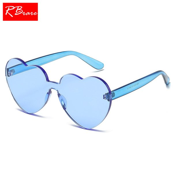 RBRARE Candy Color Heart Rimless Sunglasses Women One-piece HD Transparent Sun Glasses Modis Street Beat Holiday Oculos Feminino