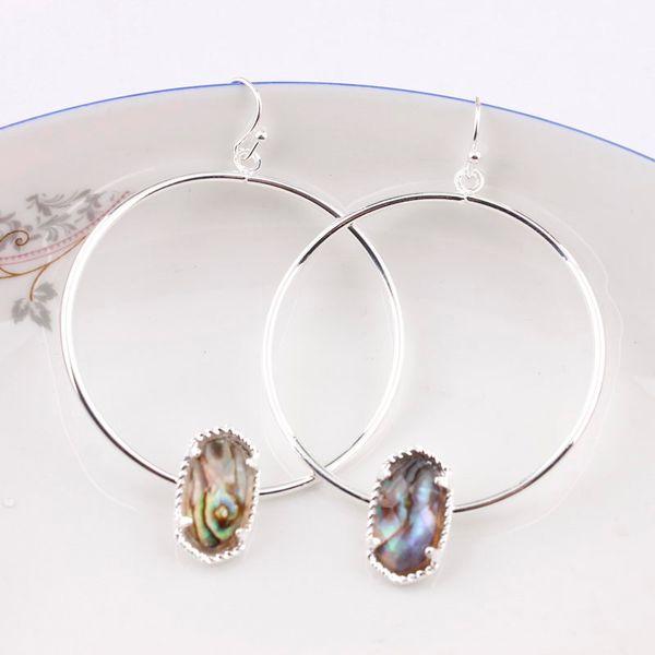 best selling Abalone Shell Faux Copper Circle Oval Druzy Quartze Hoop Earings Fashion Jewelry Cute Multicolor Oval Hoop Earrings Kendra Style