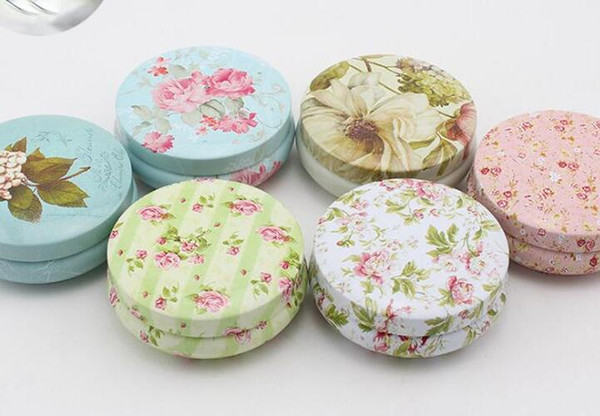 Floral Pastoral Iron Storage Tank Box Bins Cans Metal Round Coffee Tea Snacks Candy Tin Storage Container Decor