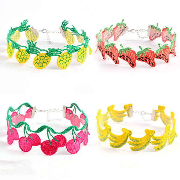 Forma lindo de la fruta Collar Gargantilla bordado para las mujeres forman cereza piña corta la cuerda de la cadena del collar Collares FS22 joyería