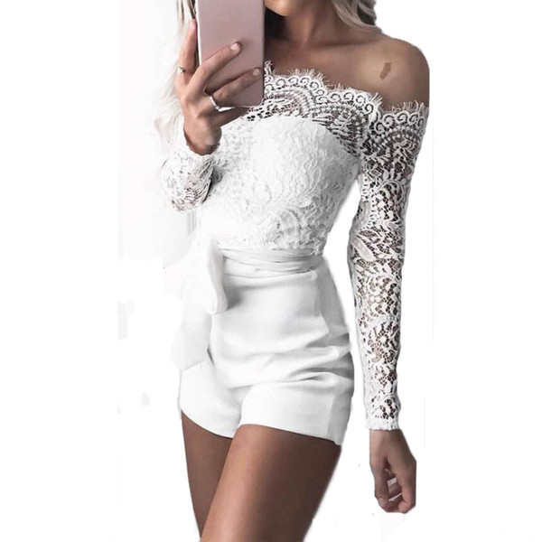 2019 new popular fashion EBay Express Sexy Show-shoulder Lace Long-sleeved Tie-up Pants in Europe and America