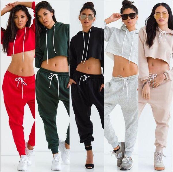 New Women Tracksuit Solid Color Short Sweatshirt +Pants Drawstring Two -Piece Set Woman Jogging Sport Suit Female Sportswear Plus Size Red