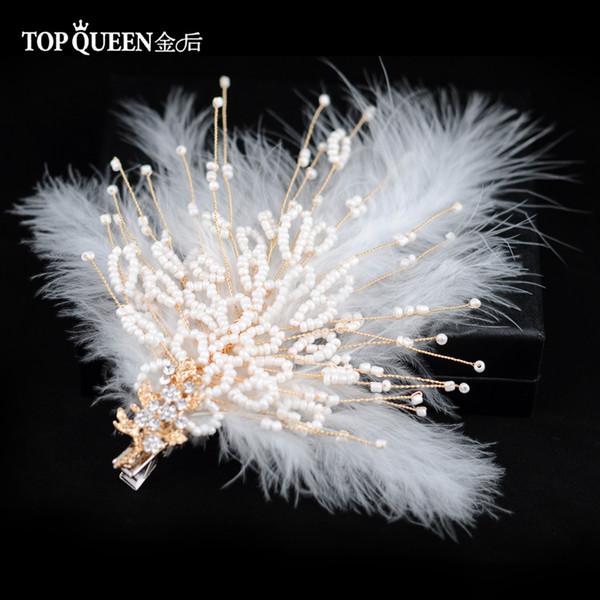 wholesale HP195 Bridal Tiara Wedding Tiara and Crown Bride Hair Jewelry Handmade Feather Wedding Hair