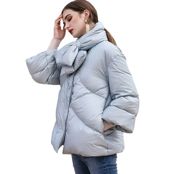 Winter Short Scarf Light Blue Down Jacket Female 2018 New Thin Section Feather Fashion Version Loose Women Coat Outerwear HJ73