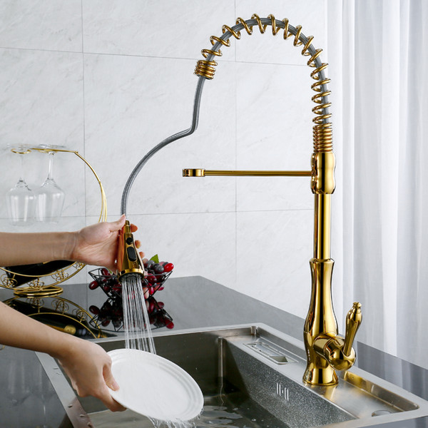 OLMEY Lead-Free Home Pull Out Sprayer Spring Luxury Golden Kitchen Faucet, Dual Functions Sink Water Taps Kitchen Mixer 11007-C1
