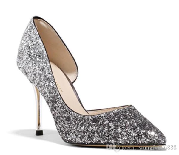 2019ss Moda kadın Kristal Ayakkabı Kapalı Toe Köpüklü AB Renk Kristal Gelin Ayakkabıları Hakiki Deri Akşam Parti Balo ayakkabı