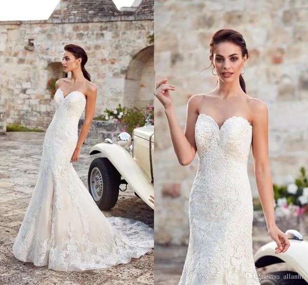Sexy Sweetheart Beach 2018 Sexy Lace sirena vestidos de novia sin respaldo vestidos de novia vestidos de novia