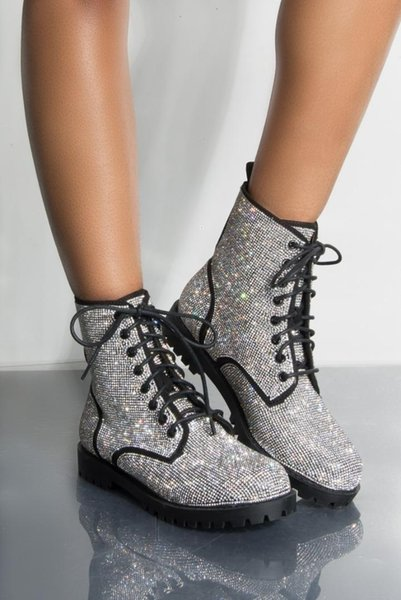 where can i buy coupon codes great quality 2019 Brand New Lace Up Glitter Silver Flat Bootie Round Toe Ankle ...