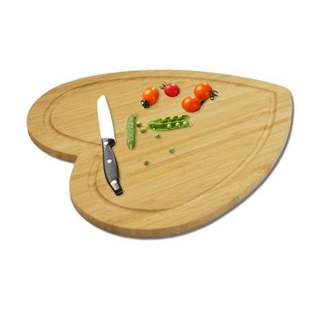 28x31.6cm Heart Shaped Cutting Board Cheese Board Double Sides Available Bamboo Cake Contanier Fruit Tray Cooking Blocks