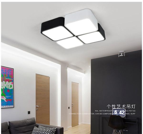 Lámpara de techo LED cuadrada nórdica personalidad creativa arte iluminación estudio dormitorio luz rectangular salón lámparas geométricas - R2