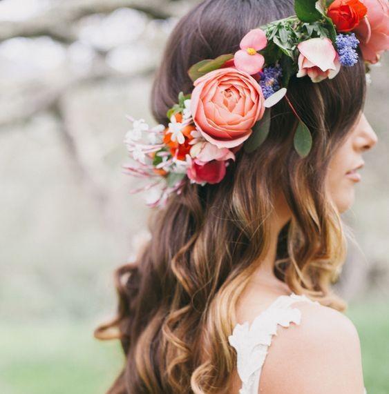 Boho Stirnbänder Hochzeit Kopfschmuck Festzug Kronen Quinceanera Tiaras Haar Kranz Zubehör Brautjungfer Rose Flower Garland Fascinator Hüte