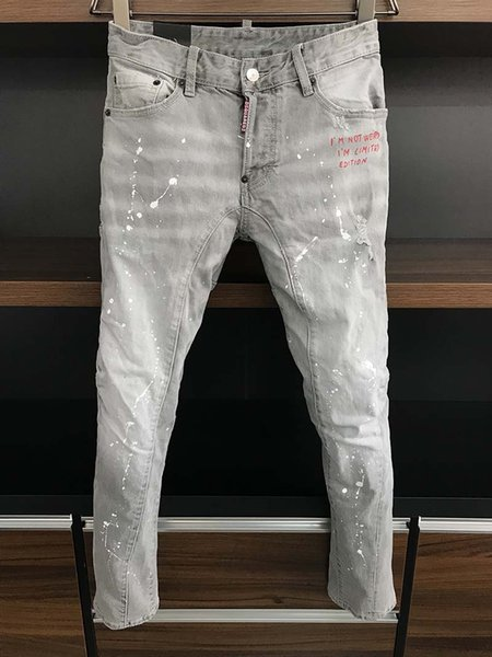 2019 italiana giovanile tendenza retrò della moda foro grigio jeans stretch piedi Uomo Slim coreano pantaloni lunghi marca marea