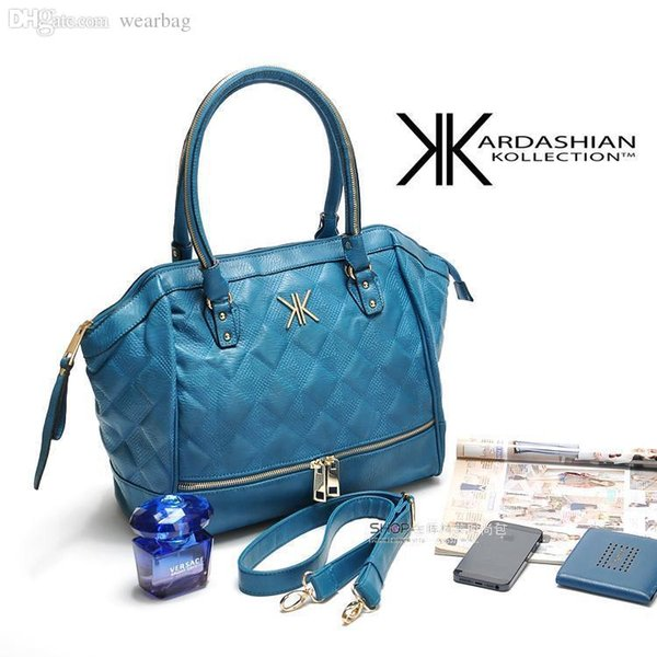 Wholesale-women handbag Hot Kim Kardashian Kollection triangle tote KK family design women bag come with tag and chain