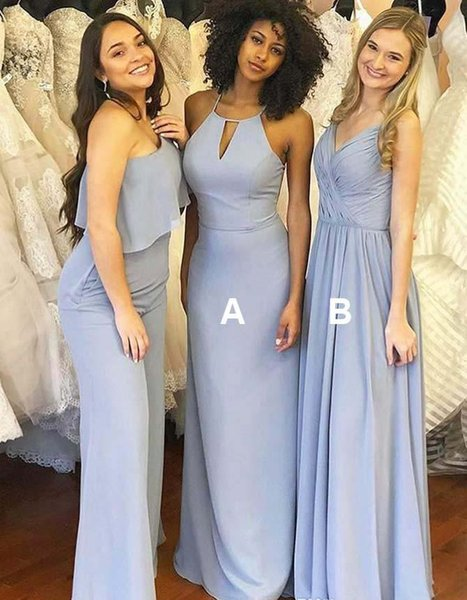 Sky Blue Bridesmaid Dress Beach Boho Mixed Styles Summer Country Garden Formal Wedding Party Guest Maid of Honor Gown Plus Size Custom Made