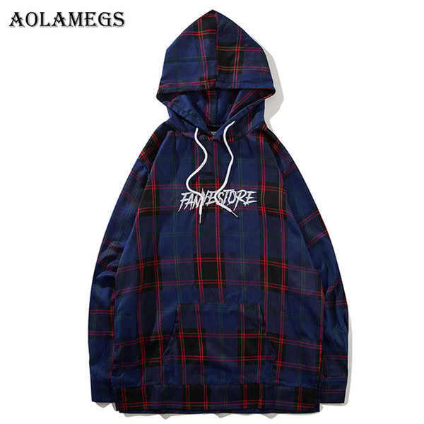 wholesale Hoodies Men Plaid Letter Thin Hooded Pullover Loose High Street FashionCotton Hip Hop Streetwear O-neck Hoodie Autumn