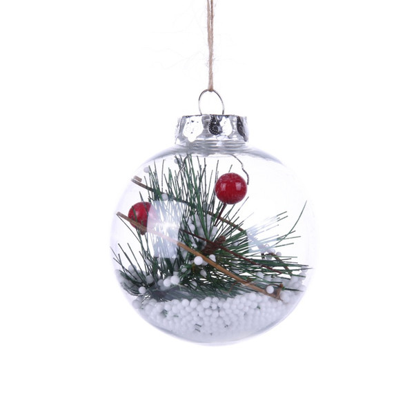 80MM Refillable Round Clear Plastic Ball Ornaments Christmas Tree Home Party Holiday Wedding Hanging Decorations Tree Ornament