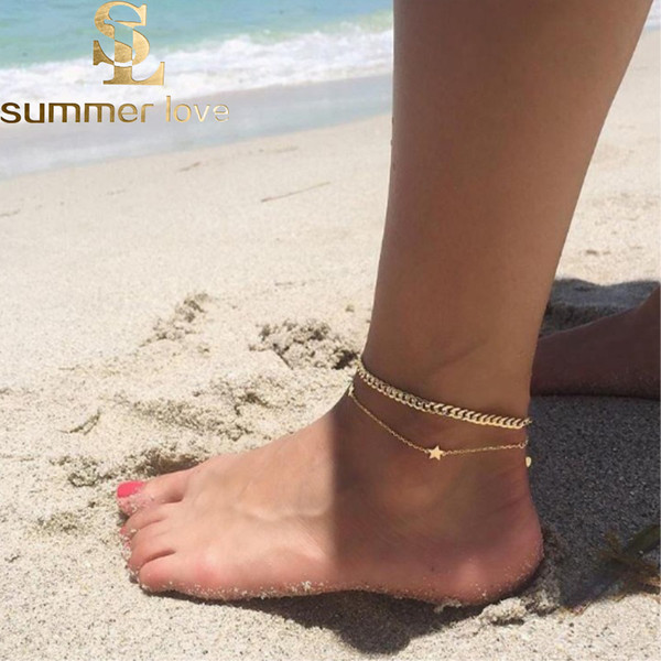 New Fashion Double Layer Star Pendant Ankle Bracelet for Women Gold&Silver Chain Ankle Summer Beach Foot Jewelry Wholesale