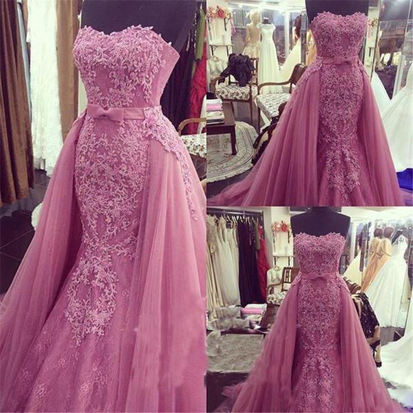 Sereia árabe Rosa Vestidos de Noite com Overskirt 2019 Lace Querida Plus Size Vestidos de Baile Africano Formal Vestidos de Festa