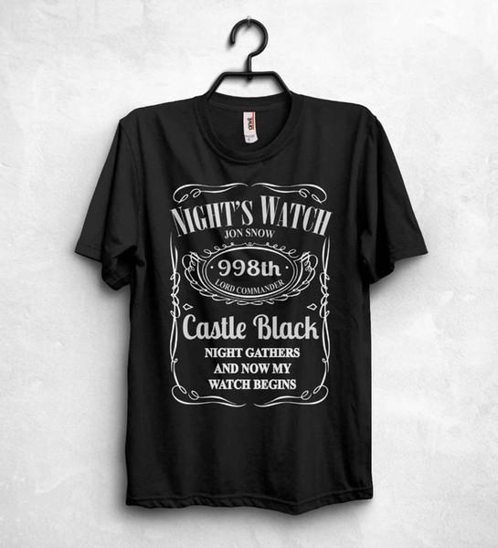 2019 Sıcak Satış Gece İzle T Gömlek Üst Oyun Thrones Rab Jon Kar Stark Kale Siyah Marti Tee Gömlek
