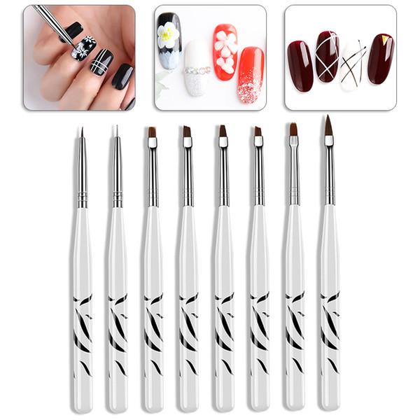 8 Pcs Zebra Pattern UV Gel Pen Brush Nail Art Brush Pen Pro Dotting Drawing Paint Salon Tool Set Nail Drawing Paint