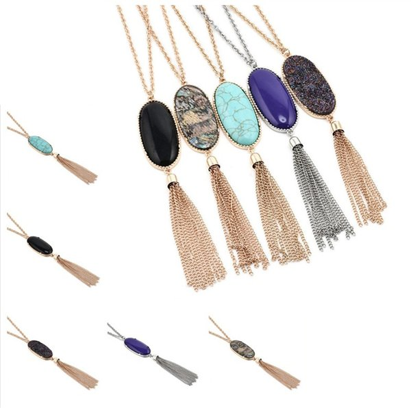 new 5styles Bohemian Long Tassel Statement Necklaces for Women Natural Stone Druzy Pendant Bulk Price free shipping