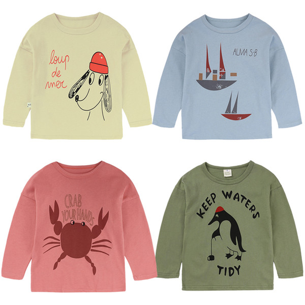 top popular Girls Pullover Cartoon Animal Letter Long Sleeve Cotton O-neck Spring Autumn Girls T-Shirt Clothes Girls Tops 9M-8T 04 2021