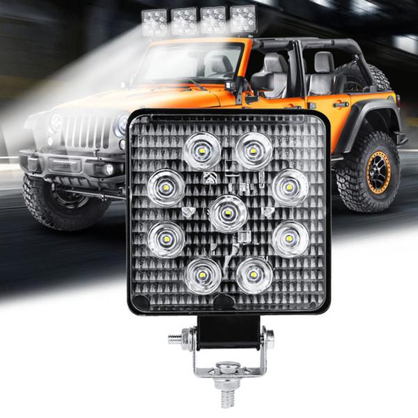 1 개 / 2 개 12V 24V 27W 자동차 트럭 오프로드 트랙터 자동차 LED 작업 등 안개 홍수 램프 화이트 6000K ATV SUV 트레일러 LED 작업 등