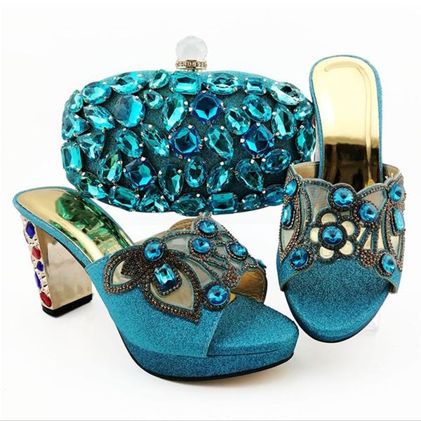Elegant sky blue women dress shoes with big colorful crystal decoration african pumps match handbag set QSL007,heel 9CM