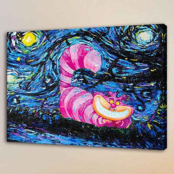 Van Gogh Cheshire Cat,HD Canvas Print Home Decor Art Painting/Unframed/Framed
