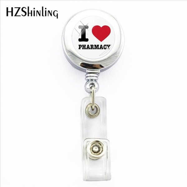 new love a pharmacist badge holder trendy i love pharmacy px id card holders with clip glass handmade p office badges, Gray