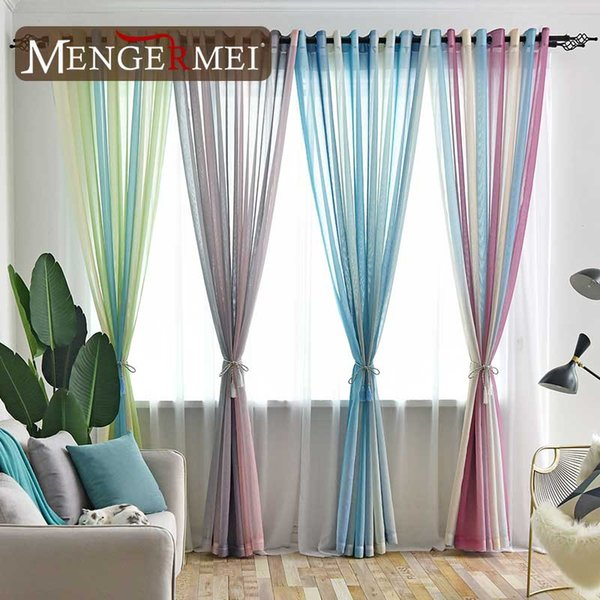 2019 MENGERMEI Colorful Rainbow Curtain For Living Room Dining Room Simple  Tulle Window Curtains For Bedroom Modern Room Drapes From Qygw_home, $20.0  ...